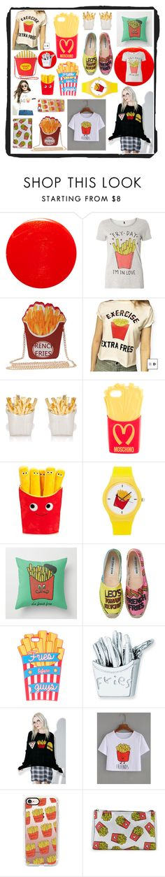 """""""French Fries"""" by beanpod ❤ liked on Polyvore featuring Yves Saint Laurent, Dorothy Perkins, Jan Leslie, Moschino, Forever 21, Leo Studio Design, claire's, Wildfox, Casetify and red"""