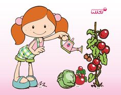 Girl watering plant