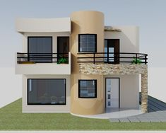 construccion de casas, townhouse,locales Two Story House Design, 2 Storey House Design, Duplex House Design, Unique House Design, House Front Design, House Design Photos, Flat Roof House, Facade House, Style At Home