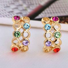 8mm 18K Gold Plated Fashion Hollow Design with Round Zircon Ladies Copper Earrings