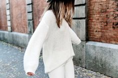 Bloglovin Blog All White Fall Winter Style Oversized Sweater Jeans Ombre Hair Via Blogger Collage Vintage