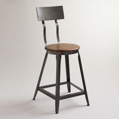 Hudson Counter Stool | World Market $129. Would rather a wood back rest and not sure about wavy metal at top but close and good price.