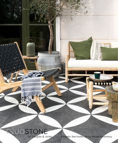 Private garden with patterned flagstones and a Scandinavian-style sofa set wooden terrace furniture wooden furniture garden garden furniture Outdoor Furniture, Patio Furniture Sets, Wooden Patio Furniture, Outdoor Tiles, Outdoor Rooms, Terrace Furniture, Garden Furniture, Home Decor, Teak Patio Furniture