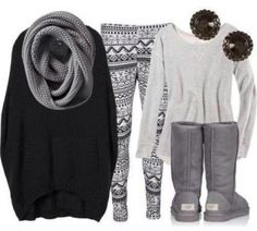 Winter monochromatic black grey whites outfit. Cute and cozy