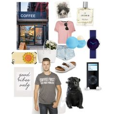 Saturday market by cikruit on Polyvore featuring polyvore, fashion, style, Boohoo, GUESS, Birkenstock, Nava, Chanel, Casetify, Miller Harris, Eos and Coffee Shop