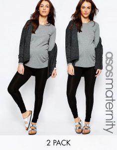 ASOS Maternity TALL Full Length Soft Touch Legging 2 Pack SAVE 9% - Black/black