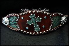 Distressed leather bronc noseband  antique croc inlay and cross
