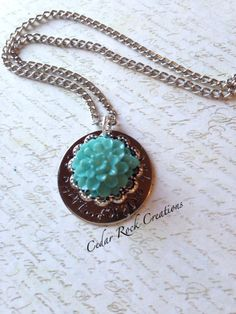 Hand Stamped Flower Necklace life is by CedarRockCreations on Etsy