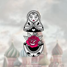Matryoshka russian doll rose tattoo design / now $1 on Skinque.com!