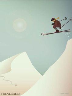 Skiing poster with snow by ViSSEVASSE. Many of us ski for the love of skiing. To… – Winterbilder Ski Vintage, Vintage Ski Posters, City Poster, Poster On, Mountain Illustration, Illustration Art, Ski Drawing, Ski Decor, Lodge Decor