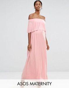 ASOS Maternity | ASOS Maternity WEDDING Off Shoulder Frill Maxi Dress