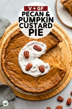 This Pumpkin Custard Pie has a delicious Pecan & Date Crust and is the perfect healthy dessert to bring to a holiday meal! High Protein Vegetarian Recipes, Vegan Dessert Recipes, Healthy Desserts, Delicious Desserts, Pie Recipes, Sweet Recipes, Healthy Recipes, Bolo Vegan, Vegan Cake