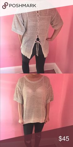 • chunky knit short sleeve sweater • 100% acrylic • modeling the medium (TTS) • price is firm Sweaters