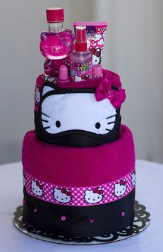 "The ""Hello Kitty"" Towel Cake. Birthday or Special Event Gifts for Girls. on Etsy, $75.00"