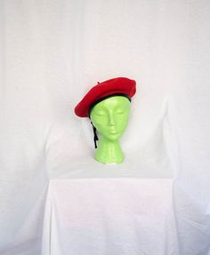 Vintage 1970's 'Townie' Red Wool Beret With Leather Trim by BeehausVintage on Etsy