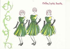 Costume Design for Little Shop of Horrors Little Shop Of Horrors Costume, Greek Chorus, Broadway Costumes, Stage Props, Theatre Makeup, 13 Year Olds, Work Inspiration, Horror Art, Musical Theatre