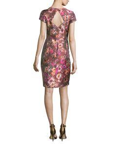 Theia Short-Sleeve Floral Jacquard Cocktail Dress, Cactus Rose