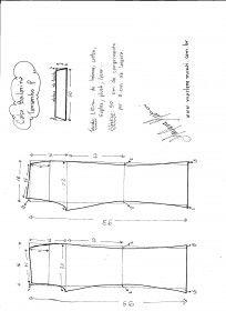 Esquema de modelagem de calça Bailarina tamanho P.