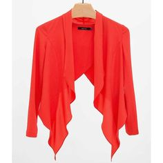 Ark & Co. Chiffon Blazer ($33) ❤ liked on Polyvore featuring outerwear, jackets, blazers, red cropped jacket, red blazer, cropped jacket, chiffon jacket and blazer jacket