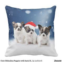 Cute #Chihuahua #Puppies with #Santa #Hat #Christmas #Pillow