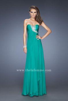 Sweetheart Silver Applique Kelly Green Layered Long Prom Dress by La Femme 20129