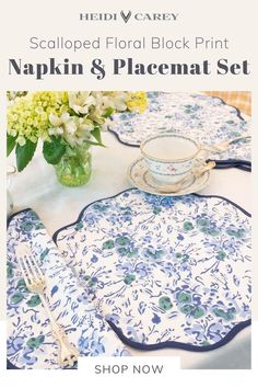 Elevate your table setting with Heidi's beautiful handcrafted placemat and napkins set! Featuring her signature elegant scalloped trim, this set is 100% cotton and machine washable. The graceful blue floral pattern is block print by hand. High on decorative appeal, this set also makes a wonderful gift for any special occasion. Set of 4 placemats and 4 napkins #cotton #napkins #clothnapkins #placemats #heidicarey Printed Napkins, Cotton Napkins, Napkins Set, Table Setting Inspiration, Table Accessories, Placemat Sets, Inspirational Gifts, Small Gifts, Table Settings