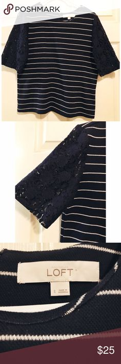 LOFT • NWOT Lace Sleeve Sweater LOFT • NWOT Lace Sleeve Sweater. Navy and white striped body. Lace sleeves. Super adorable on! Zips 3/4 of the way up in the back to the neckline. Perfect condition. LOFT Tops