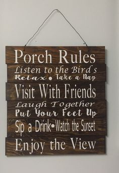 Stained Wooden Porch Rules Sign by TIMBERANDLACECO on Etsy
