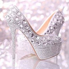 Sparkly Silver Handmade Diamond Bead Rhinestone Wedding Bridal Shoes High heels Would love these if they were a peep toe! Bridal Wedding Shoes, White Wedding Shoes, Rhinestone Wedding, Silver Rhinestone, Pretty Shoes, Beautiful Shoes, Crazy Shoes, Me Too Shoes, Shoe Boots