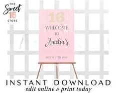 Pink Sweet 16 Sixteen Welcome Sign 50th Birthday Party Games, Birthday Decorations At Home, Birthday Wishes For Kids, Son Birthday Quotes, Birthday Surprise Boyfriend, 16th Birthday Gifts, Birthday Gifts For Girlfriend, Birthday Surprises, Teen Birthday