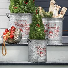 Set of 3 Galvanized Metal Reindeer Buckets Christmas Tree Base, Christmas Tale, Classy Christmas, Country Christmas, Pre Lit Garland, Christmas Decorations, Holiday Decor, Christmas Ideas, Christmas Crafts