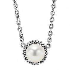 A modern necklace with freshwater culture pearl framed by sterling silver beading on a 16-18 inch adjustable necklace.