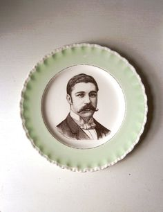 Your place to buy and sell all things handmade Victorian Gentleman, China Plates, Retro Home, Vintage Pins, Altered Art, Decorative Plates, Shabby Chic, Moustaches, Prints
