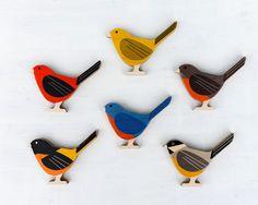 Modern Wood Birds - Set of 3.