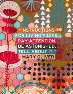 'instructions for living a life' // Mary Oliver quote // artwork by Jessica Swift