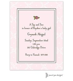 Trellis Pink & Chocolate baby Shower or Sip and See with rose Invitation. Use any wording on this adorable pink baby girl invite.   Little Angel Announcements
