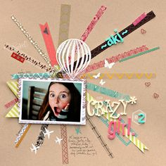 Scrap booking crazy girl Scrapbook Page Layouts, Scrapbook Cards, Scrapbooking Ideas, Picture Layouts, Paper Strips, Book Projects, Book Journal, Layout Inspiration, Washi Tape