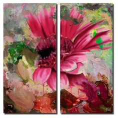 Ready2HangArt Painted Petals LXIV Canvas Wall Art - 2 pc. Set - PP64-GWC