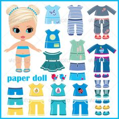 Buy the royalty-free stock vector image Paper doll with clothes set online ✓ All rights included ✓ High resolution vector file for print, web & Social.mette free paper dolls and paintings too Arielle Gabriel's International Paper Doll SocietySumm Paper Doll Template, Paper Dolls Printable, Felt Dolls, Doll Toys, Image Paper, Dress Up Dolls, Doll Crafts, Paper Toys, Free Paper