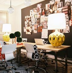 Great use of pattern and a lovely pop of colour with the lamps - obsessed with inspiration walls