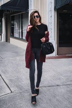 Style Blogger, Nichole Ciotti looking chic and cozy in our Darcy Long Fuzzy Cardigan available on: www.norestforbridget.com. #styleblogger