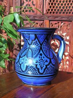 Traditional Moroccan design jug in blue. http://www.maroque.co.uk/showitem.aspx?id=ENT02869&p=01571&n=all