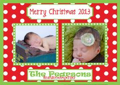 Merry Christmas Polka Dot  2 picture card by PaisleyPearInvites, $1.50