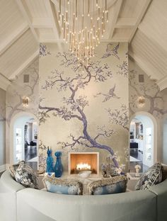 Lavender Chinoiserie Fireplace. Would love something like this in the wall behind my headboard.