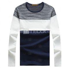 Camiseta De los hombres Retazos-Casual   Deporte   Tallas Grandes-Algodón- Manga 07b8712d259