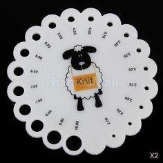 2x-Round-Plastic-Knitting-Knit-Needle-Gauge-Check-Ruler-Measure-Range-2mm-10mm