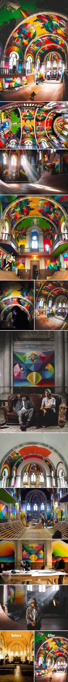 Artists Transformed A 100-Year-Old Church Into A Skate Park With Colorful Graffiti (By La Iglesia Skate)