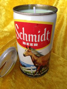 1973 Schmidt Beer Horses Candle on Etsy, $15.00