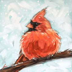 Snowy Cardinal painting, impressionistic original oil painting of a male Cardinal on a branch, bird paintings, Cardinal painting Bird Paintings On Canvas, Watercolor Paintings, Original Paintings, Canvas Art, Cardinal Paintings, Canvas Ideas, Watercolor Bird, Bird Art, Oeuvre D'art
