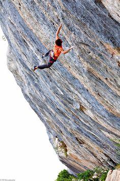 Chris Sharma climbs the Face de Rat in Céüse, France. #rockclimbing